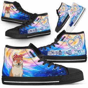 HTS-U-Dog-DogMomGalaxy-Shiba_Inu-60@ Dog Mom Galaxy Shiba Inu 60-Shiba Inu Mom Dog Lovers High Top Shoes Gift Women Dog Mom. Galaxy Heart Love Custom Shoes.