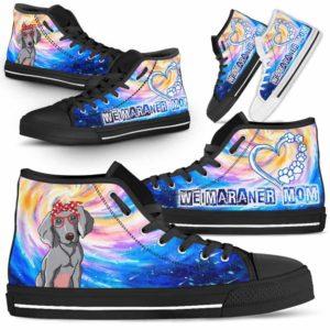 HTS-U-Dog-DogMomGalaxy-Weimaraner-61@ Dog Mom Galaxy Weimaraner 61-Weimaraner Mom Dog Lovers High Top Shoes Gift Women Dog Mom. Galaxy Heart Love Custom Shoes.