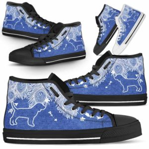 HTS-U-Dog-FeatherJean-Beagle-2@ Feather Jean Beagle 2-Beagle Dog Lovers High Top Shoes Gift Men Women. Feather Dog Mom Dog Dad Custom Shoes.