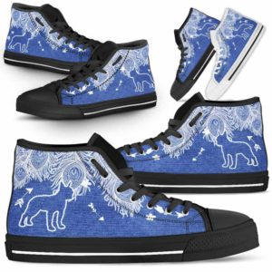 HTS-U-Dog-FeatherJean-Boston_Terrier-3@ Feather Jean Boston Terrier 3-Boston Terrier Dog Lovers High Top Shoes Gift Men Women. Feather Dog Mom Dog Dad Custom Shoes.