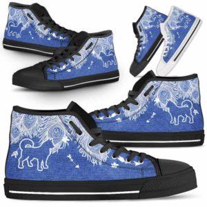 HTS-U-Dog-FeatherJean-Husky-16@ Feather Jean Husky 16-Husky Dog Lovers High Top Shoes Gift Men Women. Feather Dog Mom Dog Dad Custom Shoes.