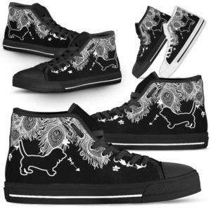 HTS-U-Dog-FeatherW-Basset_Hound-1@ White Feather Basset Hound 1-Basset Hound Dog Lovers High Top Shoes Gift Men Women. Dog Mom Dog Dad Feather Custom Shoes.