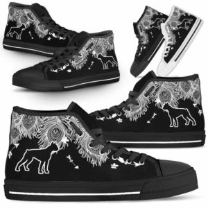 HTS-U-Dog-FeatherW-Boxer-4@ White Feather Boxer 4-Boxer Dog Lovers High Top Shoes Gift Men Women. Dog Mom Dog Dad Feather Custom Shoes.