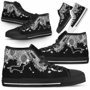 HTS-U-Dog-FeatherW-Dachshund-9@ White Feather Dachshund 9-Dachshund Dog Lovers High Top Shoes Gift Men Women. Dog Mom Dog Dad Feather Custom Shoes.