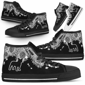 HTS-U-Dog-FeatherW-Frenchie-11@ White Feather Frenchie 11-Frenchie Dog Lovers High Top Shoes Gift Men Women. Dog Mom Dog Dad Feather Custom Shoes.