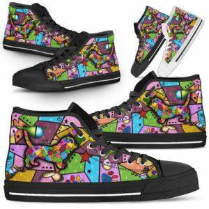 HTS-U-Dog-FrameColor-Basset_Hound-1@ Frame Color Basset Hound 1-Basset Hound Dog Lovers High Top Shoes Gift Men Women. Dog Mom Dog Dad Colorful Patch Custom Shoes.