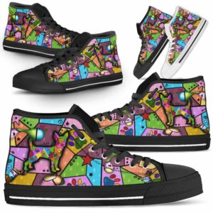 HTS-U-Dog-FrameColor-Chihuahua-7@ Frame Color Chihuahua 7-Chihuahua Dog Lovers High Top Shoes Gift Men Women. Dog Mom Dog Dad Colorful Patch Custom Shoes.