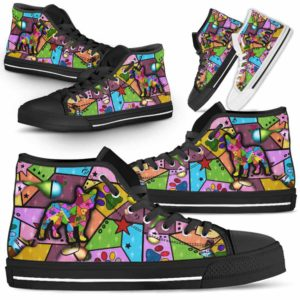 HTS-U-Dog-FrameColor-Frenchie-11@ Frame Color Frenchie 11-Frenchie Dog Lovers High Top Shoes Gift Men Women. Dog Mom Dog Dad Colorful Patch Custom Shoes.