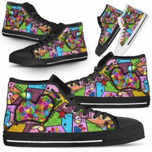 HTS-U-Dog-FrameColor-Havanese-14@ Frame Color Havanese 14-Havanese Dog Lovers High Top Shoes Gift Men Women. Dog Mom Dog Dad Colorful Patch Custom Shoes.