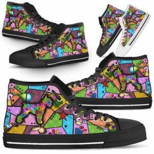 HTS-U-Dog-FrameColor-Schnauzer-21@ Frame Color Schnauzer 21-Schnauzer Dog Lovers High Top Shoes Gift Men Women. Dog Mom Dog Dad Colorful Patch Custom Shoes.