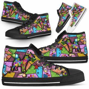 HTS-U-Dog-FrameColor-Shiba_inu-22@ Frame Color Shiba inu 22-Shiba Inu Dog Lovers High Top Shoes Gift Men Women. Dog Mom Dog Dad Colorful Patch Custom Shoes.