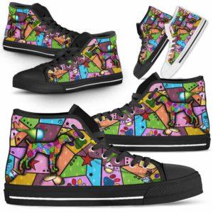 HTS-U-Dog-FrameColor-Weimaraner-23@ Frame Color Weimaraner 23-Weimaraner Dog Lovers High Top Shoes Gift Men Women. Dog Mom Dog Dad Colorful Patch Custom Shoes.