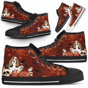 HTS-U-Dog-HalloweenBot-Basset_Hound-3@ Halloween Bot Basset Hound 3-Basset Hound Halloween Dog Lovers High Top Shoes Gift Men Women Dog Mom Dog Dad. Spooky Custom Shoes.