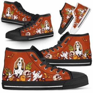 HTS-U-Dog-HalloweenBot1-Basset_Hound-3@ Halloween Bot 1 Basset Hound 3-Basset Hound Halloween Dog Lovers High Top Shoes Gift Men Women. Spooky Dog Mom Dog Dad Custom Shoes.