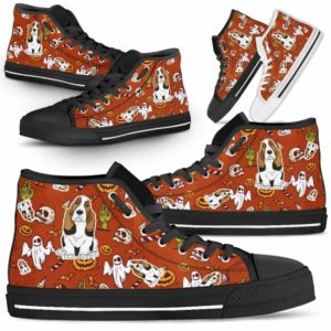 HTS-U-Dog-HalloweenPattern1-Basset_Hound-3@ Halloween Pattern Basset Hound 3-Spooky Basset Hound Halloween Dog Lovers High Top Shoes Gift Men Women. Dog Mom Dog Dad Custom Shoes.