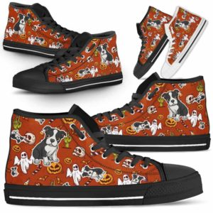 HTS-U-Dog-HalloweenPattern1-Boston_Terrier-6@ Halloween Pattern Boston Terrier 6-Spooky Boston Terrier Halloween Dog Lovers High Top Shoes Gift Men Women. Dog Mom Dad Custom Shoes.