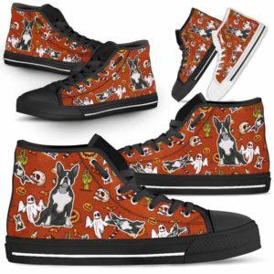 HTS-U-Dog-HalloweenPattern1-Boston_Terrier-8@ Halloween Pattern Boston Terrier 8-Spooky Boston Terrier Halloween Dog Lovers High Top Shoes Gift Men Women. Dog Mom Dad Custom Shoes.