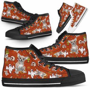 HTS-U-Dog-HalloweenPattern1-Chihuahua-15@ Halloween Pattern Chihuahua 15-Spooky Chihuahua Halloween Dog Lovers High Top Shoes Gift Men Women. Dog Mom Dog Dad Custom Shoes.