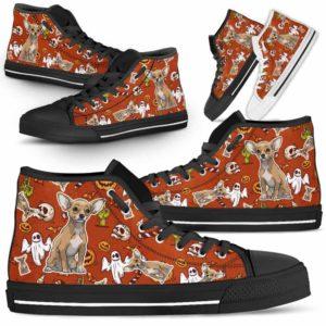 HTS-U-Dog-HalloweenPattern1-Chihuahua-16@ Halloween Pattern Chihuahua 16-Spooky Chihuahua Halloween Dog Lovers High Top Shoes Gift Men Women. Dog Mom Dog Dad Custom Shoes.