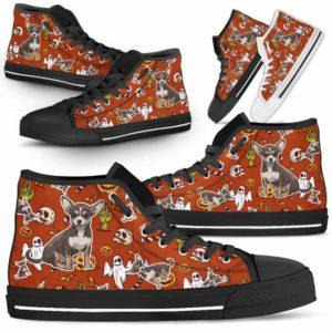 HTS-U-Dog-HalloweenPattern1-Chihuahua-17@ Halloween Pattern Chihuahua 17-Spooky Chihuahua Halloween Dog Lovers High Top Shoes Gift Men Women. Dog Mom Dog Dad Custom Shoes.