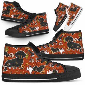 HTS-U-Dog-HalloweenPattern1-Dachshund-19@ Halloween Pattern Dachshund 19-Spooky Dachshund Halloween Dog Lovers High Top Shoes Gift Men Women. Dog Mom Dog Dad Custom Shoes.