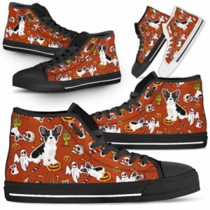 HTS-U-Dog-HalloweenPattern1-Frenchie-21@ Halloween Pattern Frenchie 21-Spooky Frenchie Halloween Dog Lovers High Top Shoes Gift Men Women. Dog Mom Dog Dad Custom Shoes.