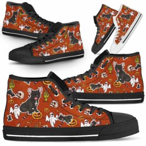 HTS-U-Dog-HalloweenPattern1-Frenchie-22@ Halloween Pattern Frenchie 22-Spooky Frenchie Halloween Dog Lovers High Top Shoes Gift Men Women. Dog Mom Dog Dad Custom Shoes.
