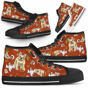 HTS-U-Dog-HalloweenPattern1-Frenchie-23@ Halloween Pattern Frenchie 23-Spooky Frenchie Halloween Dog Lovers High Top Shoes Gift Men Women. Dog Mom Dog Dad Custom Shoes.