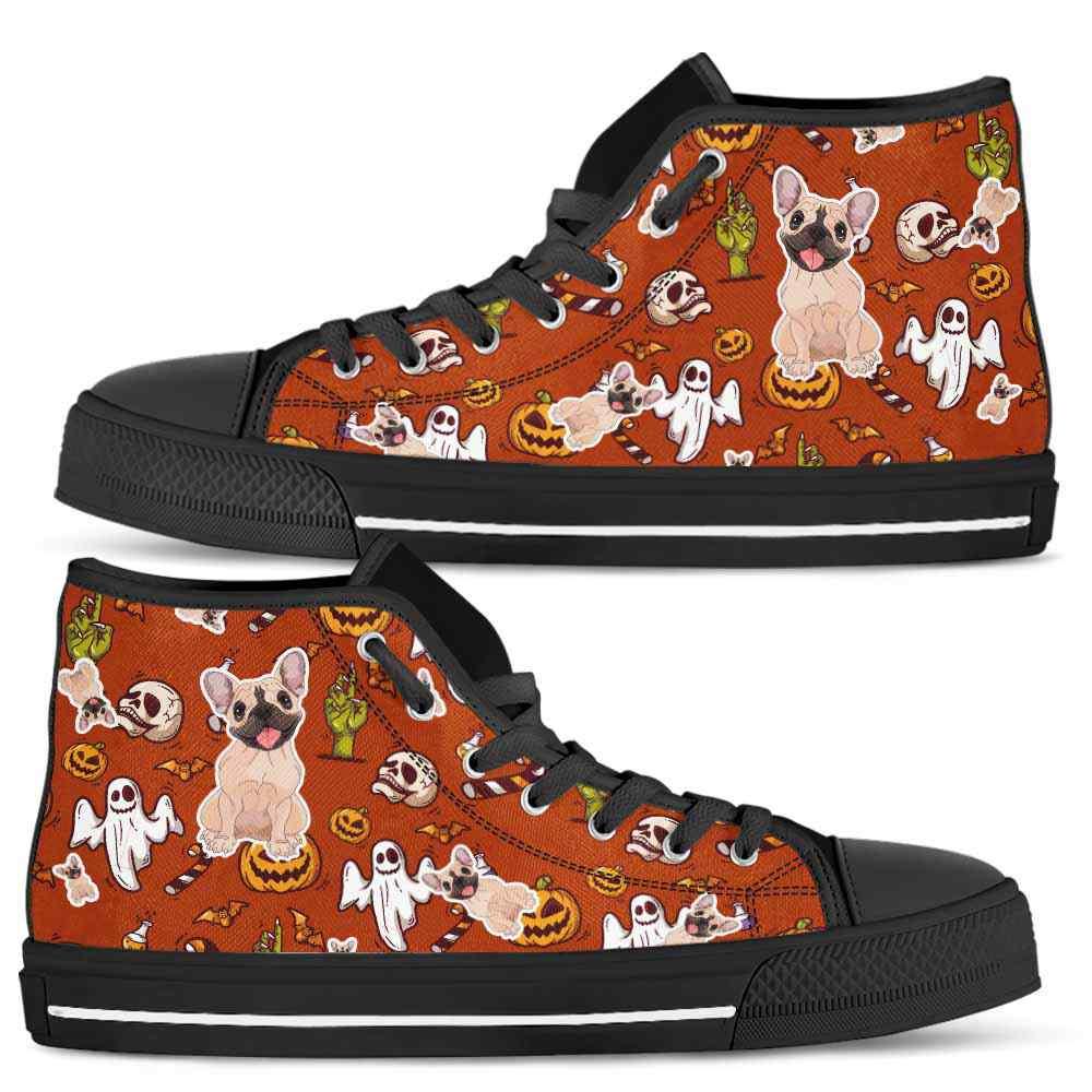HTS-U-Dog-HalloweenPattern1-Frenchie-25@ Halloween Pattern Frenchie 25-Spooky Frenchie Halloween Dog Lovers High Top Shoes Gift Men Women. Dog Mom Dog Dad Custom Shoes.