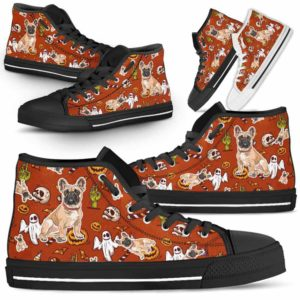 HTS-U-Dog-HalloweenPattern1-Frenchie-26@ Halloween Pattern Frenchie 26-Spooky Frenchie Halloween Dog Lovers High Top Shoes Gift Men Women. Dog Mom Dog Dad Custom Shoes.