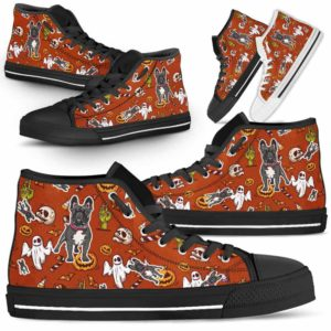 HTS-U-Dog-HalloweenPattern1-Frenchie-27@ Halloween Pattern Frenchie 27-Spooky Frenchie Halloween Dog Lovers High Top Shoes Gift Men Women. Dog Mom Dog Dad Custom Shoes.
