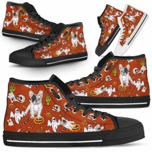 HTS-U-Dog-HalloweenPattern1-Frenchie-28@ Halloween Pattern Frenchie 28-Spooky Frenchie Halloween Dog Lovers High Top Shoes Gift Men Women. Dog Mom Dog Dad Custom Shoes.
