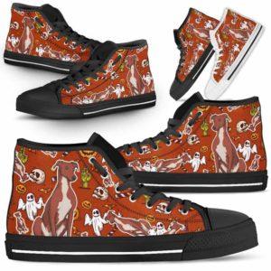 HTS-U-Dog-HalloweenPattern1-Greyhound-31@ Halloween Pattern Greyhound 31-Spooky Greyhound Halloween Dog Lovers High Top Shoes Gift Men Women. Dog Mom Dog Dad Custom Shoes.