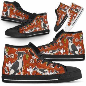 HTS-U-Dog-HalloweenPattern1-Greyhound-32@ Halloween Pattern Greyhound 32-Spooky Greyhound Halloween Dog Lovers High Top Shoes Gift Men Women. Dog Mom Dog Dad Custom Shoes.