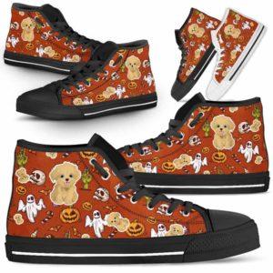 HTS-U-Dog-HalloweenPattern1-Havanese-33@ Halloween Pattern Havanese 33-Spooky Havanese Halloween Dog Lovers High Top Shoes Gift Men Women. Dog Mom Dog Dad Custom Shoes.