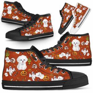 HTS-U-Dog-HalloweenPattern1-Havanese-34@ Halloween Pattern Havanese 34-Spooky Havanese Halloween Dog Lovers High Top Shoes Gift Men Women. Dog Mom Dog Dad Custom Shoes.