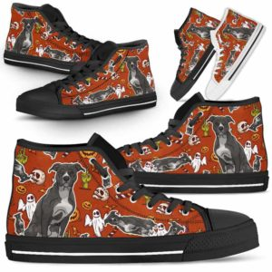 HTS-U-Dog-HalloweenPattern1-Pit_Bull-41@ Halloween Pattern Pit Bull 41-Spooky Pit Bull Halloween Dog Lovers High Top Shoes Gift Men Women. Dog Mom Dog Dad Custom Shoes.