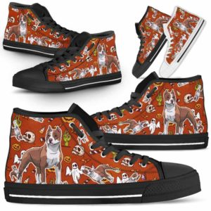 HTS-U-Dog-HalloweenPattern1-Pit_Bull-42@ Halloween Pattern Pit Bull 42-Spooky Pit Bull Halloween Dog Lovers High Top Shoes Gift Men Women. Dog Mom Dog Dad Custom Shoes.
