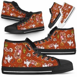 HTS-U-Dog-HalloweenPattern1-Pit_Bull-43@ Halloween Pattern Pit Bull 43-Spooky Pit Bull Halloween Dog Lovers High Top Shoes Gift Men Women. Dog Mom Dog Dad Custom Shoes.