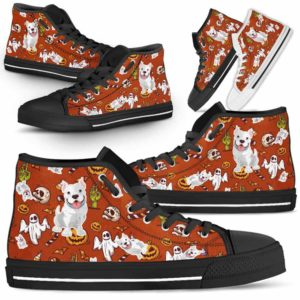 HTS-U-Dog-HalloweenPattern1-Pit_Bull-44@ Halloween Pattern Pit Bull 44-Spooky Pit Bull Halloween Dog Lovers High Top Shoes Gift Men Women. Dog Mom Dog Dad Custom Shoes.