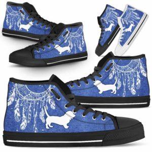 HTS-U-Dog-JeanDreamcatcher-Basset_Hound-1@ Jean Dreamcatcher Basset Hound 1-Basset Hound Dog Lovers High Top Shoes Dreamcatcher Gift Men Women. Dog Mom Dog Dad Custom Shoes.
