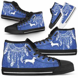 HTS-U-Dog-JeanDreamcatcher-Dachshund-9@ Jean Dreamcatcher Dachshund 9-Dachshund Dog Lovers High Top Shoes Dreamcatcher Gift Men Women. Dog Mom Dog Dad Custom Shoes.