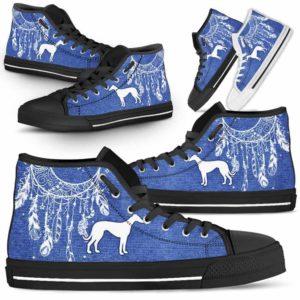 HTS-U-Dog-JeanDreamcatcher-Greyhound-13@ Jean Dreamcatcher Greyhound 13-Greyhound Dog Lovers High Top Shoes Dreamcatcher Gift Men Women. Dog Mom Dog Dad Custom Shoes.