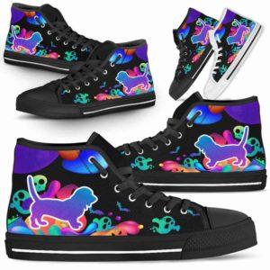 HTS-U-Dog-NeonHalloween-Basset_Hound-1@ Neon Halloween Basset Hound 1-Basset Hound Halloween Dog Lovers High Top Shoes Gift Men Women. Dog Mom Dog Dad Neon Custom Shoes.