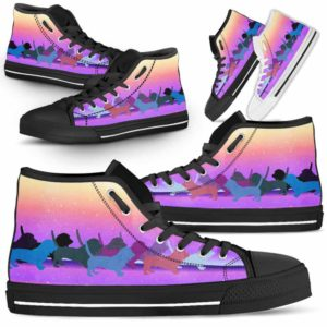 HTS-U-Dog-PastelLine-Basset_Hound-1@ Pastel Line Basset Hound 1-Basset Hound High Top Shoes Gift For Women Dog Lovers Owners Dog Mom. Pastel Line Custom Shoes.