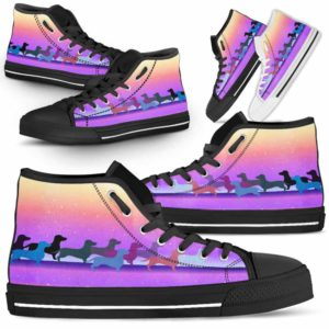 HTS-U-Dog-PastelLine-Dachshund-9@ Pastel Line Dachshund 9-Dachshund High Top Shoes Gift For Women Dog Lovers Owners Dog Mom. Pastel Line Custom Shoes.
