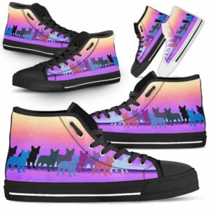 HTS-U-Dog-PastelLine-Frenchie-11@ Pastel Line Frenchie 11-Frenchie High Top Shoes Gift For Women Dog Lovers Owners Dog Mom. Pastel Line Custom Shoes.