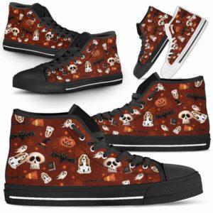 HTS-U-Dog-PatternHalloween-Basset_Hound-3@ Pattern Halloween Basset Hound 3-Basset Hound Halloween Dog Lovers High Top Shoes Gift Dog Mom Dog Dad Men Women. Spooky Custom Shoes.