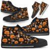 HTS-U-Dog-PumpkinHalloween-Pit_Bull-42@ Pumpkin Halloween Pit Bull 42-Pit Bull Halloween Dog Lovers High Top Shoes Gift Dog Mom Dog Dad Men Women. Pumpkin Custom Shoes.