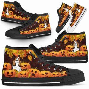 HTS-U-Dog-Pumpkins-Basset_Hound-3@ Pumpkins Bot Basset Hound 3-Basset Hound Halloween Pumpkin Dog Lovers High Top Shoes Gift Men Women. Dog Mom Dog Dad Custom Shoes.